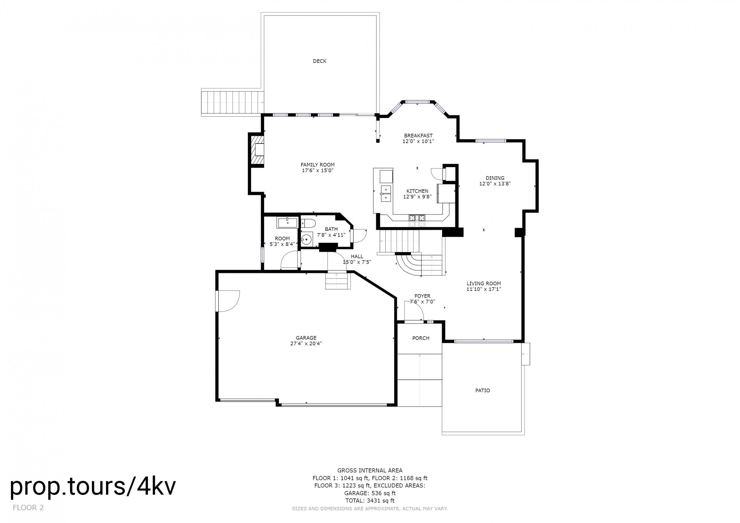 Floor Plan of Main Floor With Measurements