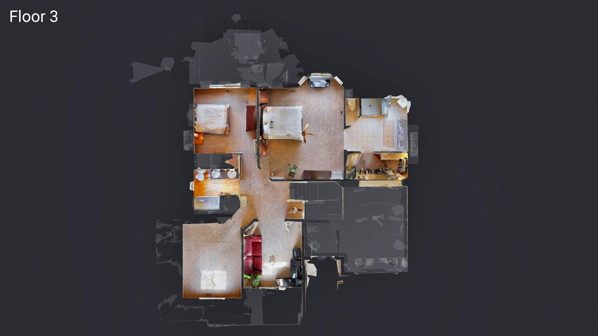3D Floor Plan of Upper Floor