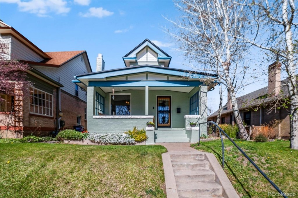 Home for sale, Cheesman Park Neighborhood, small brick home with stairs
