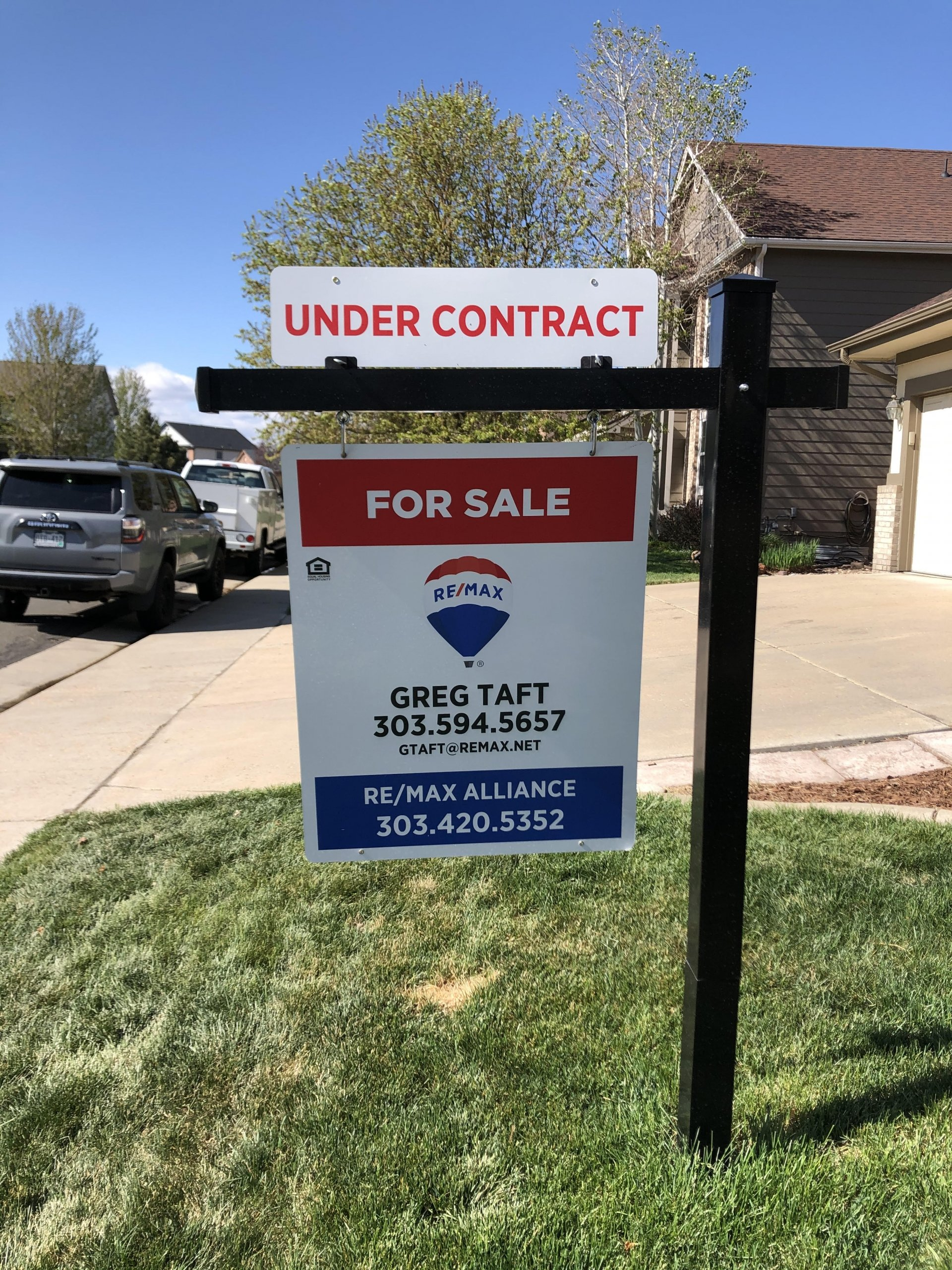 Hot Housing Market, Under Contract Realtor Sign, Black Post, Red White Blue Sign
