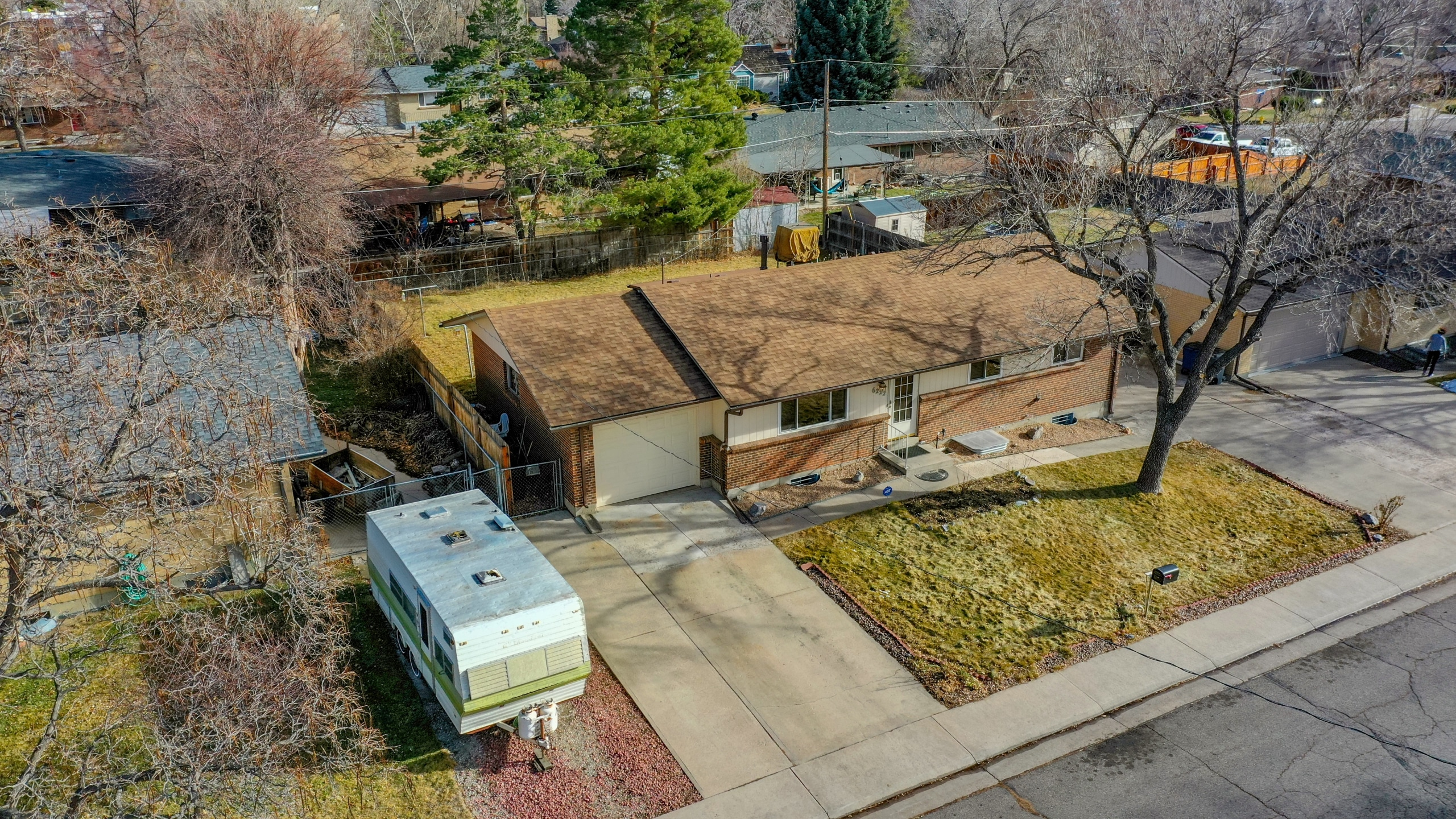 Arvada Home For Sale Aerial Drone View Big Back Yard