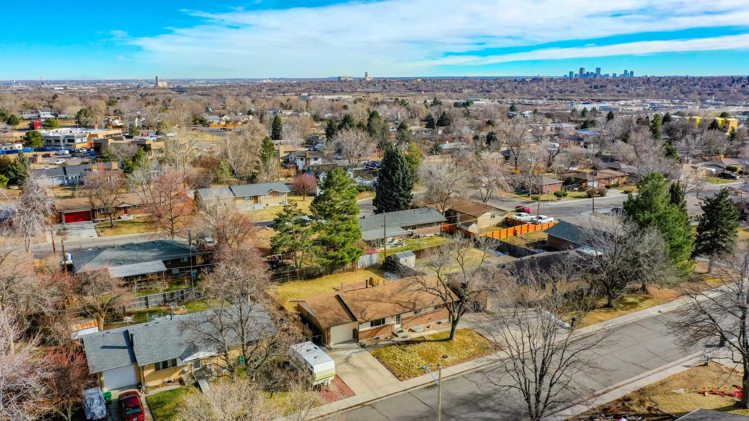 Arvada Home For Sale, Aerial Drone, View of Downtown Denver, Blue Sky