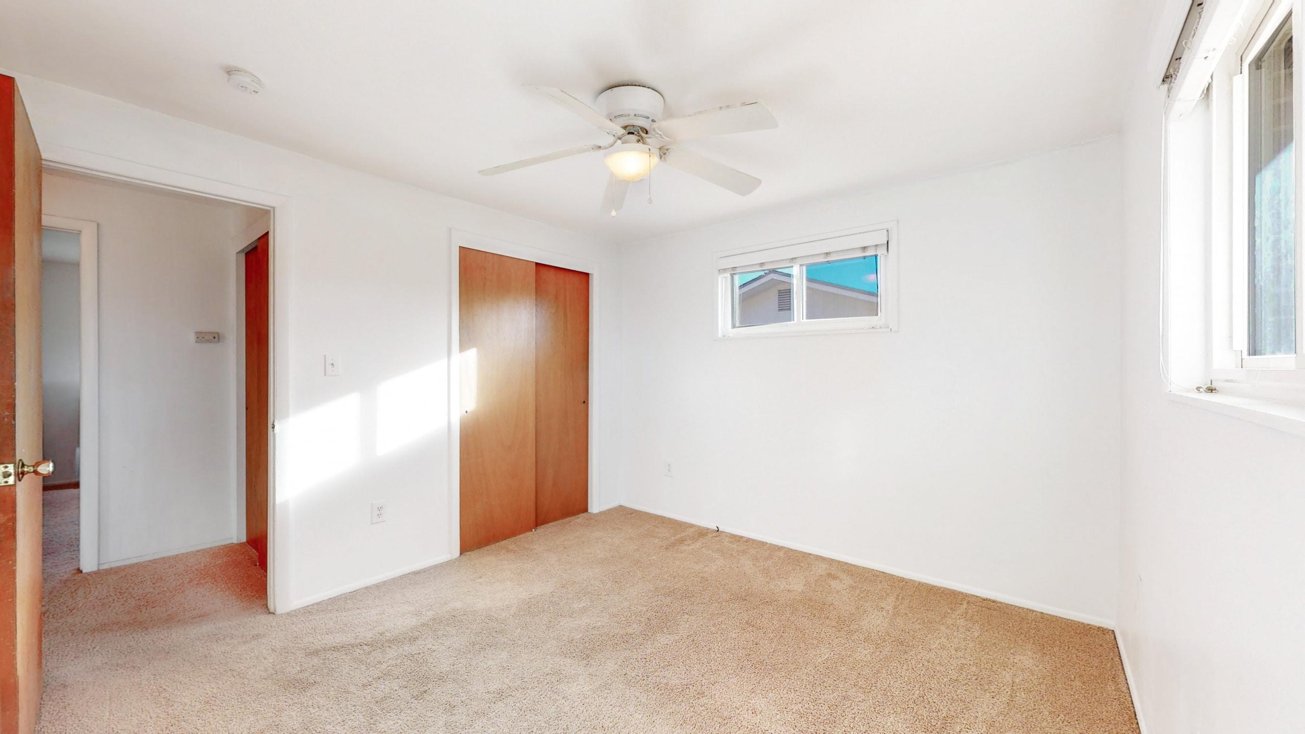 Arvada Home For Sale, Medium Bedroom, White Walls, Ceiling Fan, Brown Carpet