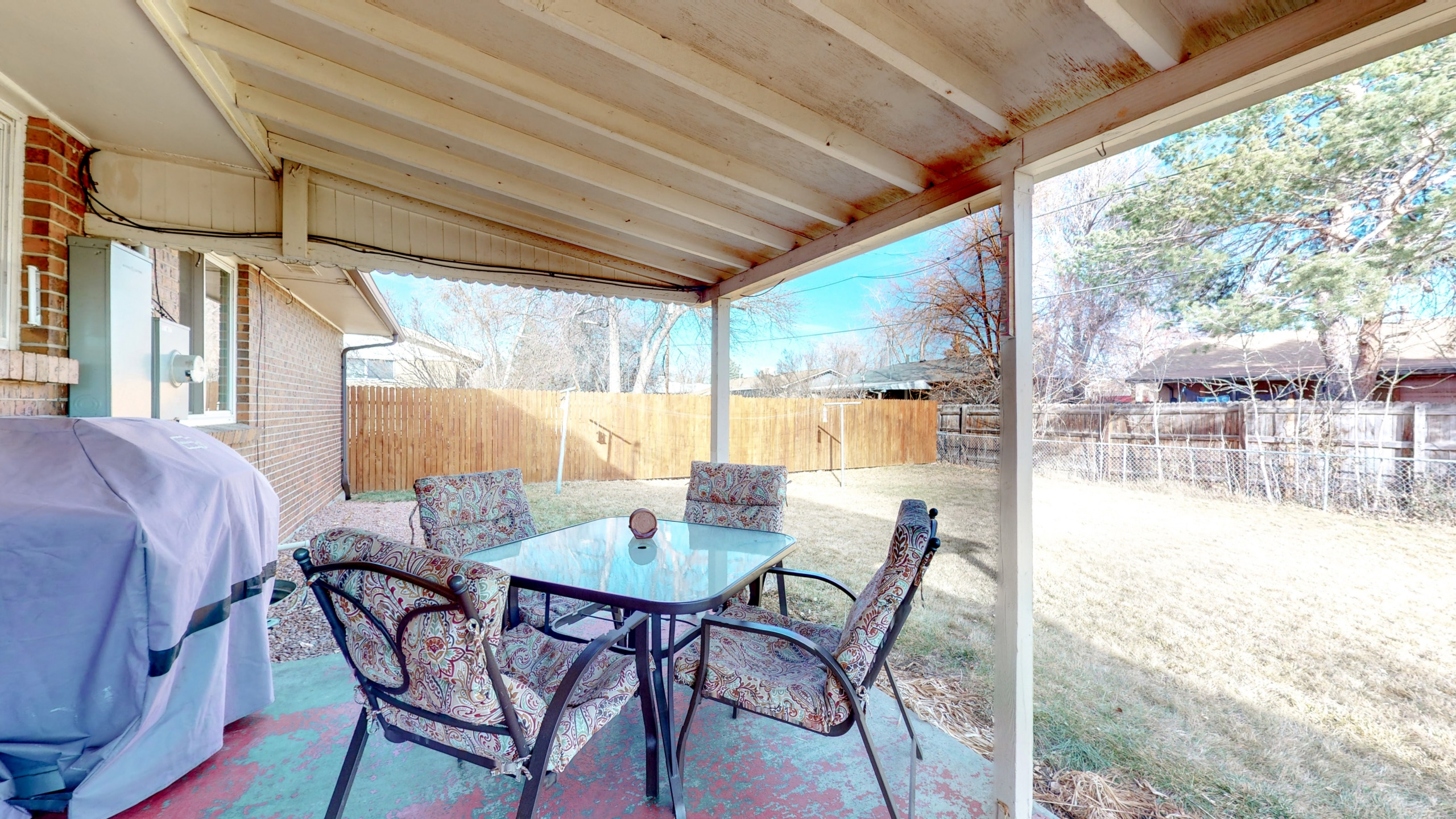 Back Covered Patio opens up to beautiful big back yard
