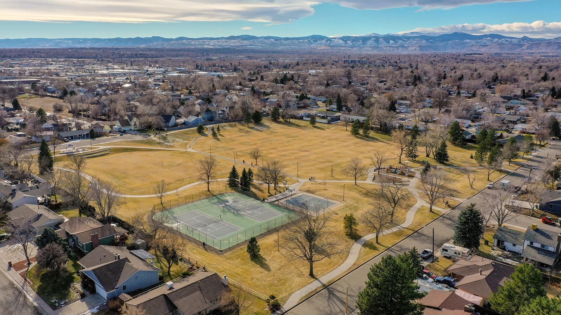 Homestead Park, Arvada Colorado, Green Grass, Tennis Courts, Playground