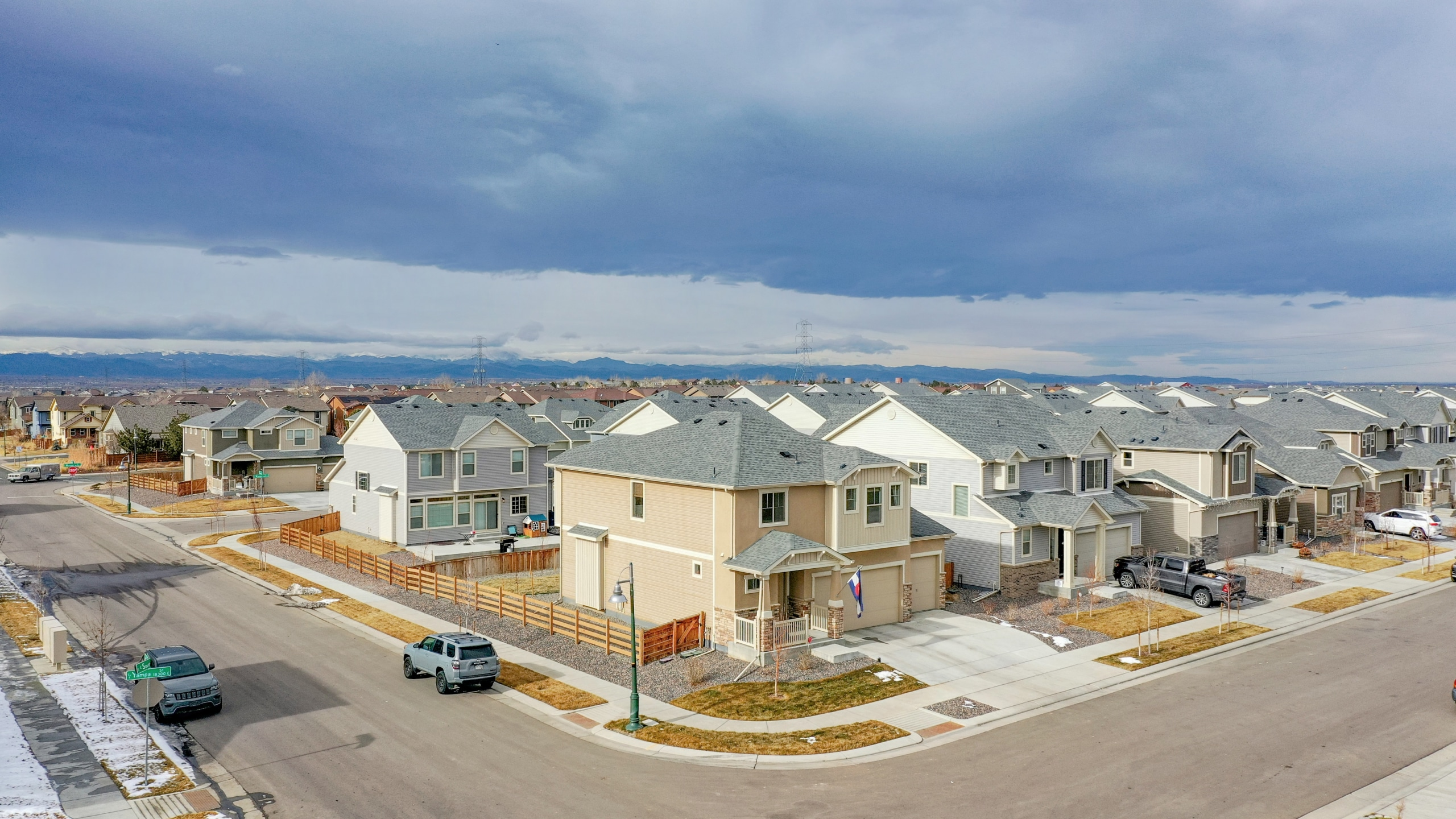 Commerce City Home For Sale, Drone Shot of Beige House