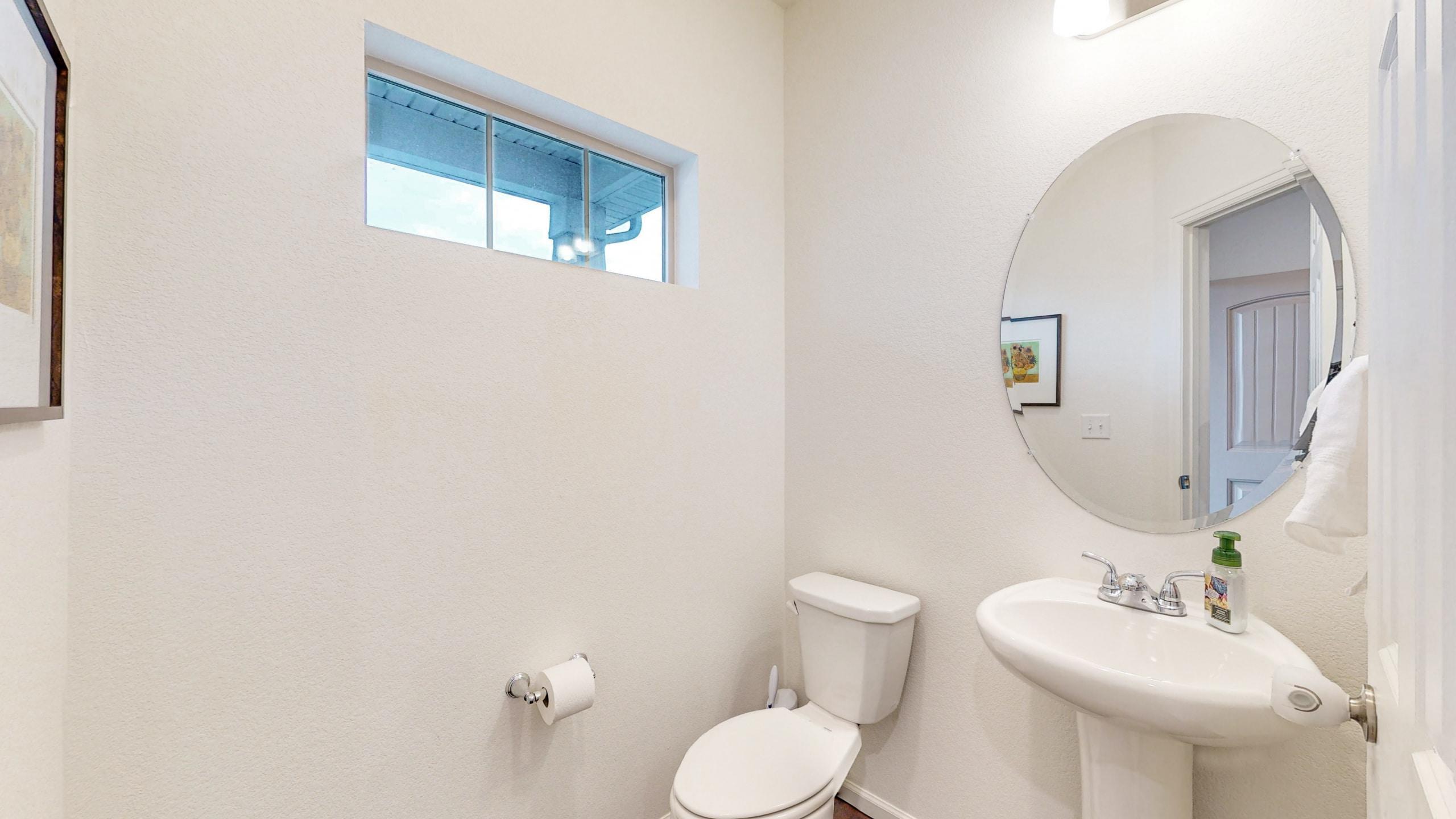 Main Floor Half Bath, Pedestal Sink, white toilet