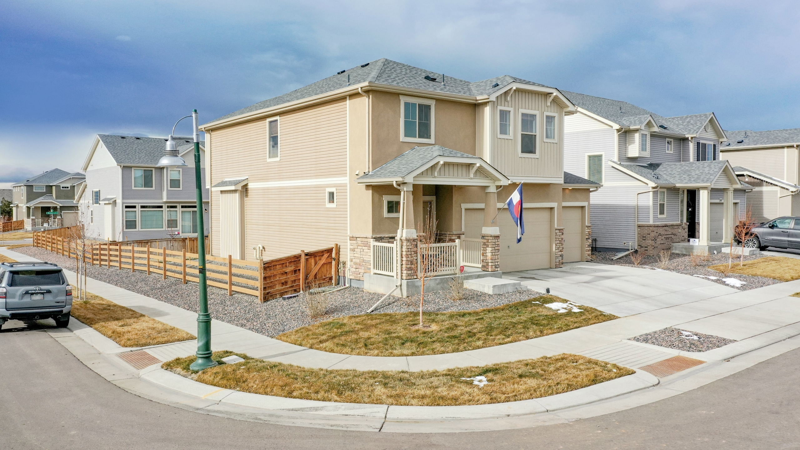 Side shot of new home for sale in Commerce City, CO