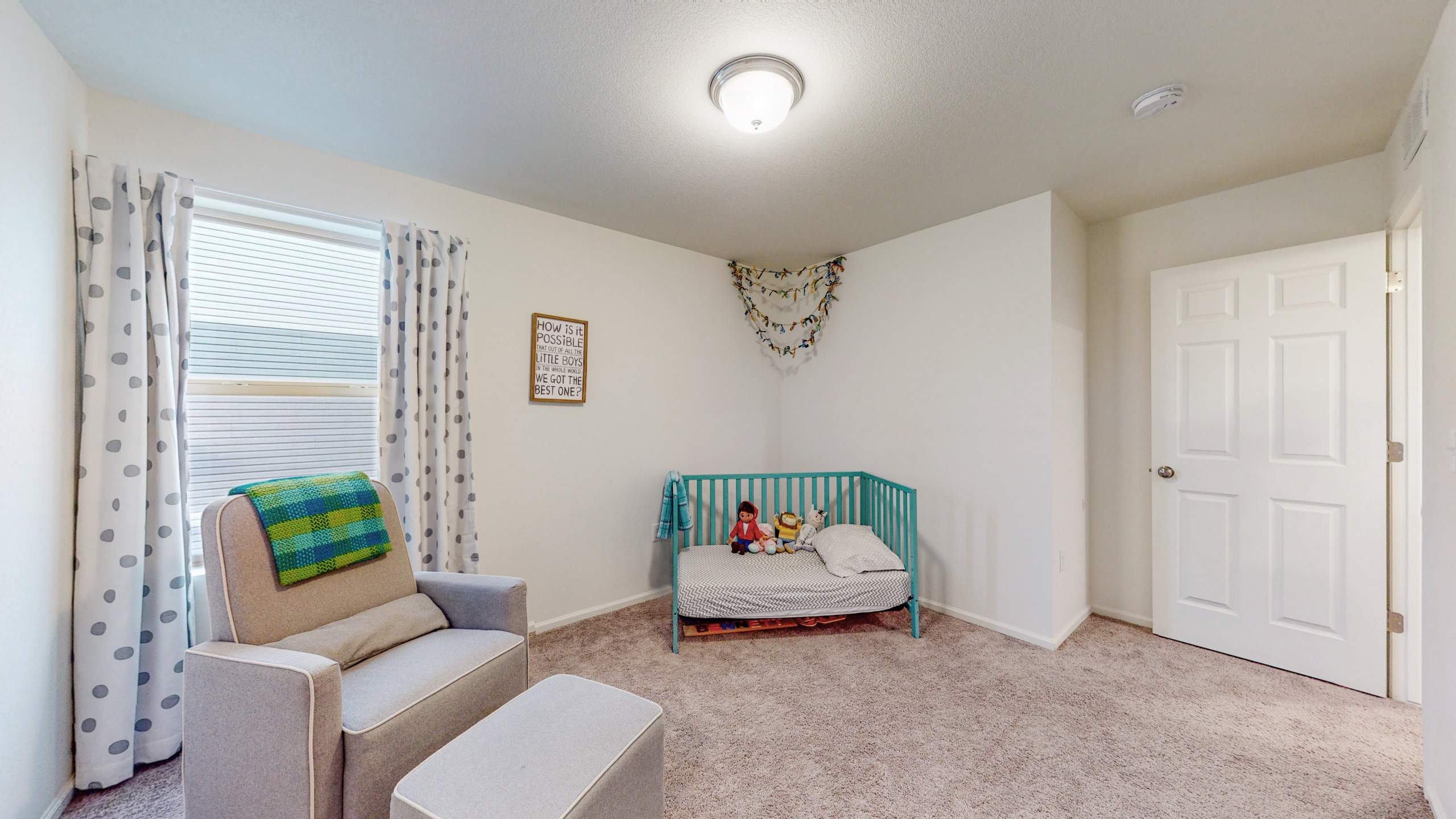 Upstairs Bedroom, natural light, white walls