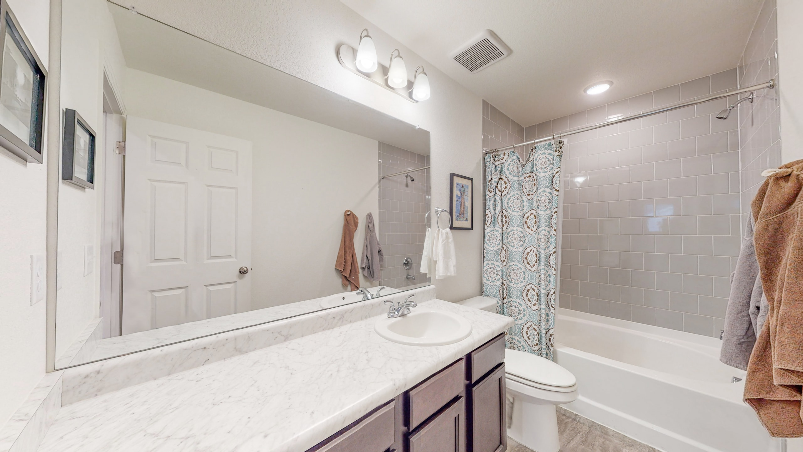 Upstairs Extra Full Bathroom, Grey subway tile, large vanity