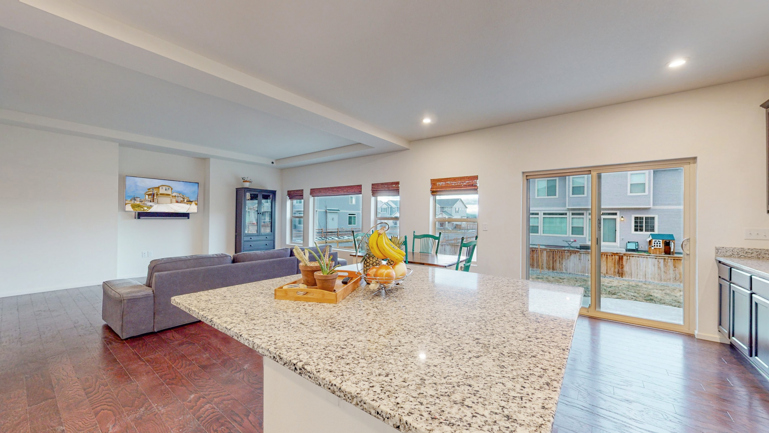 View from Kitchen Island, Opens to Backyard