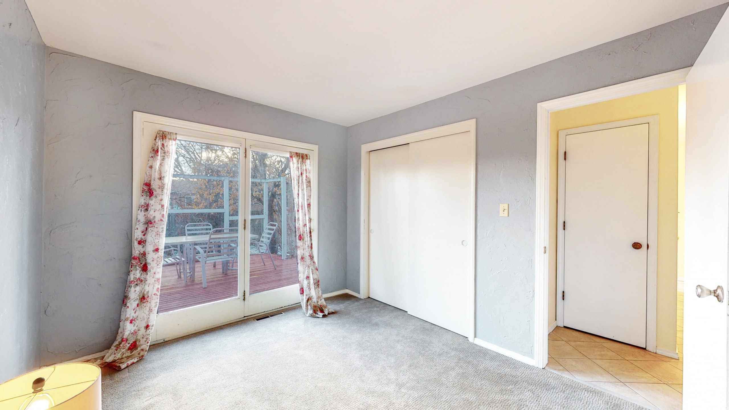 Brighton Home For Sale Bedroom With French Doors, Grey Walls, White Trim