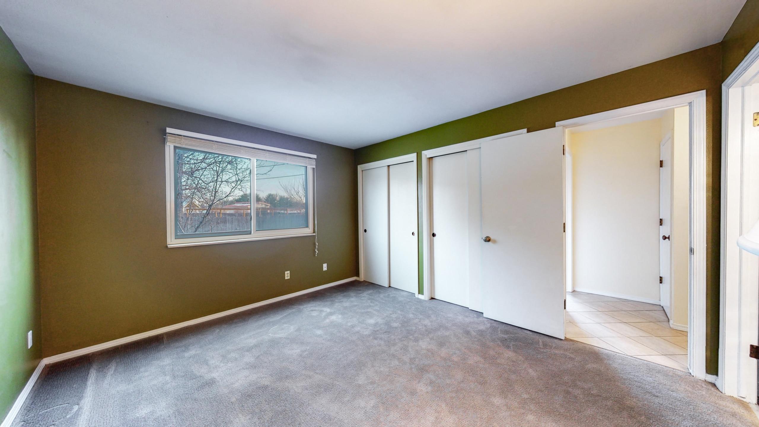 Main Floor Master Bedroom, Green Walls, White Trim