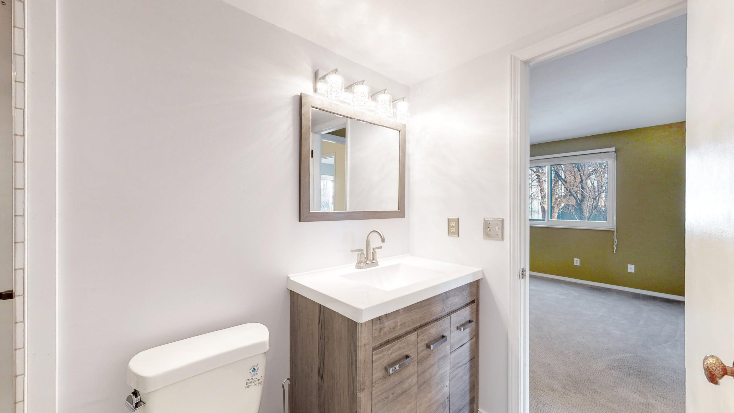 Updated modern bathroom, grey vanity with white sink
