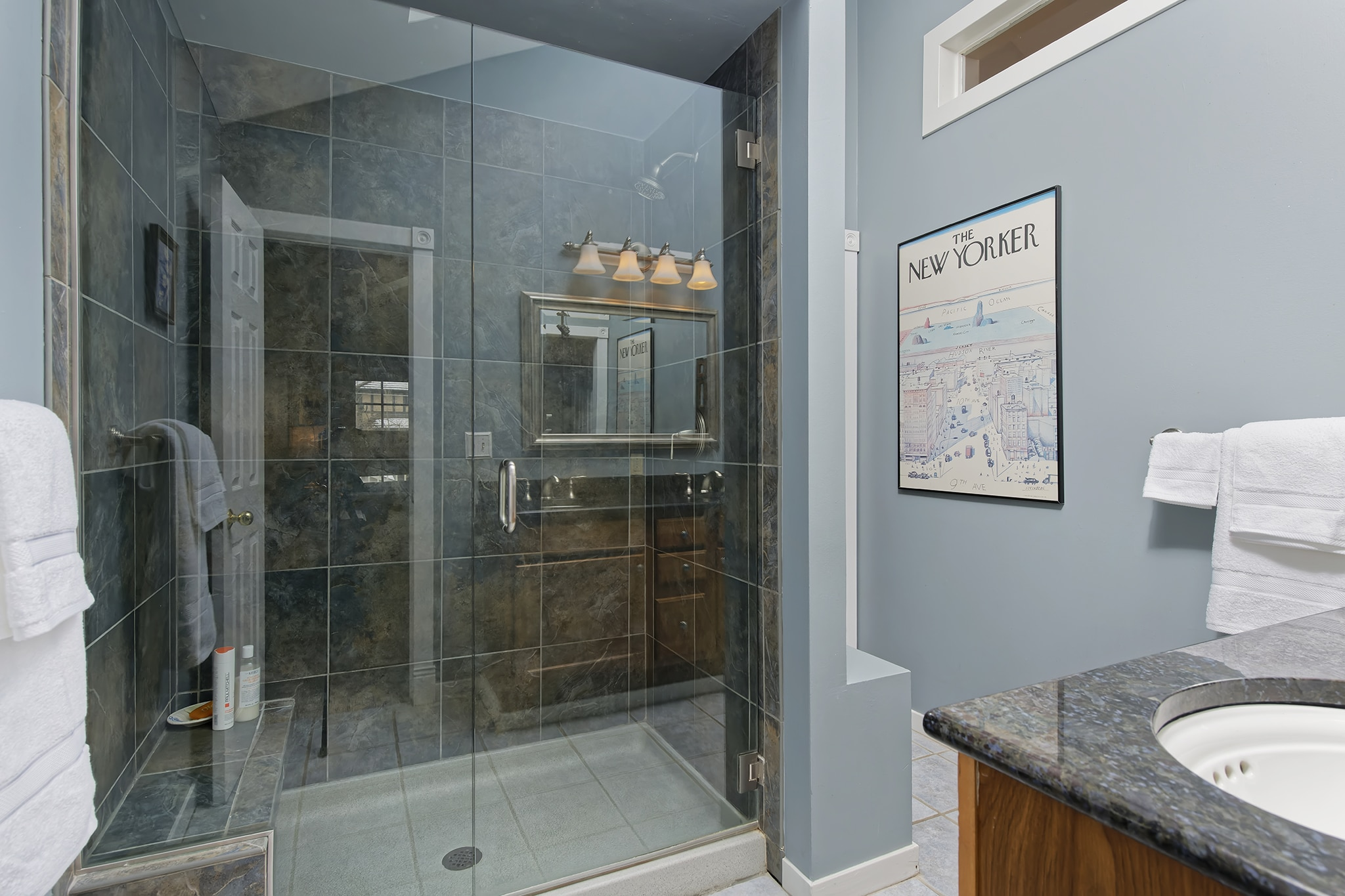 Master Bathroom with walk-in shower glass shower door