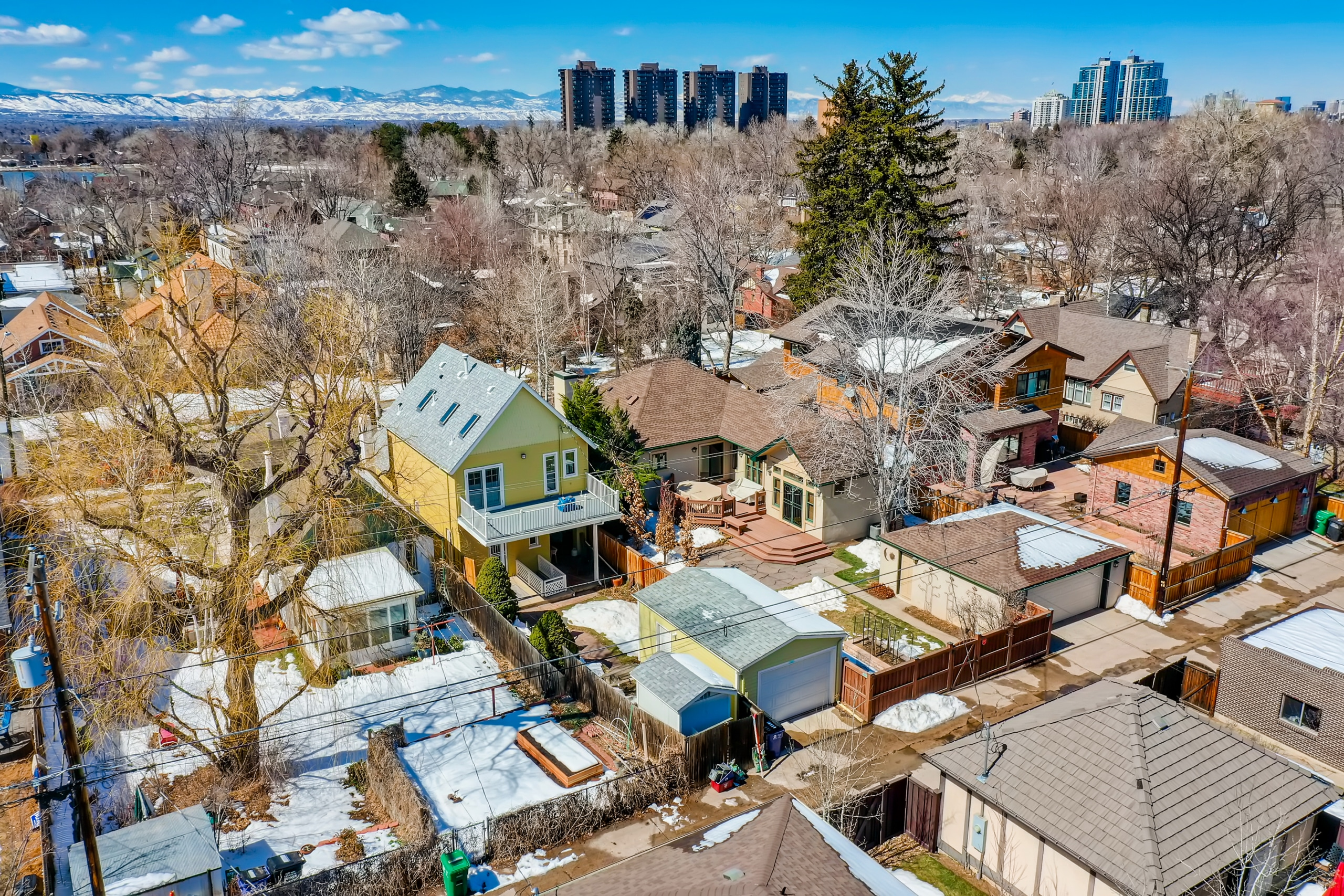 Washington Park Home, Drone View, Mountains in Background