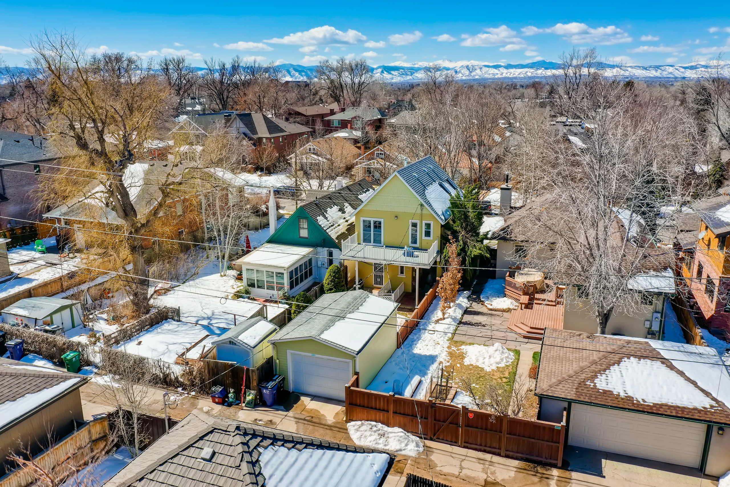 Washington Park Home, closer up, drone, backyard