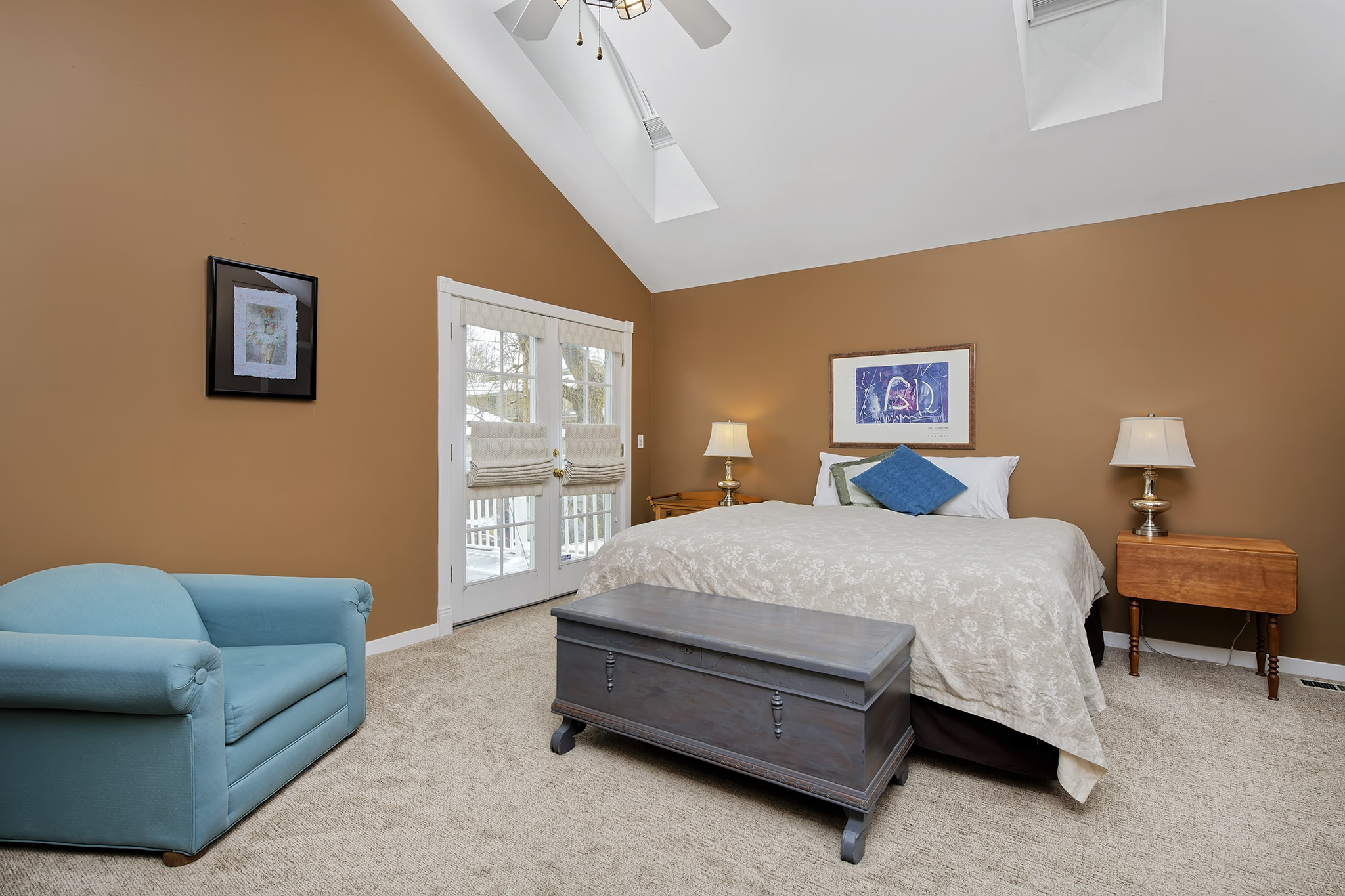 Washington Park Victorian Home, Master Bedroom With Vaulted Ceilings and Brown Walls