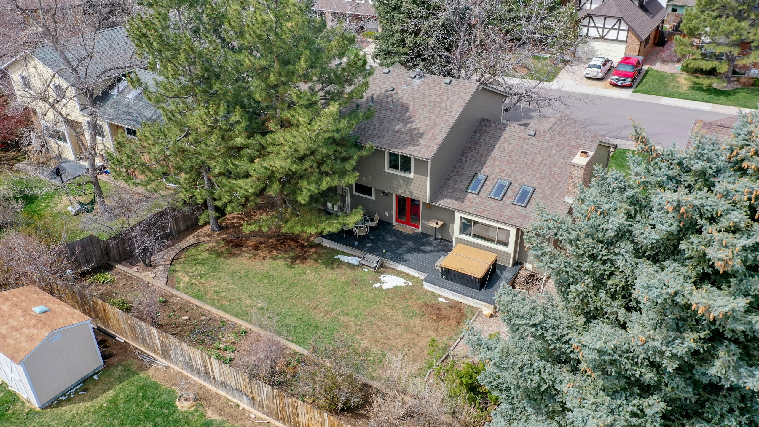 Aerial View of backyard from a drone in Centennial Colorado