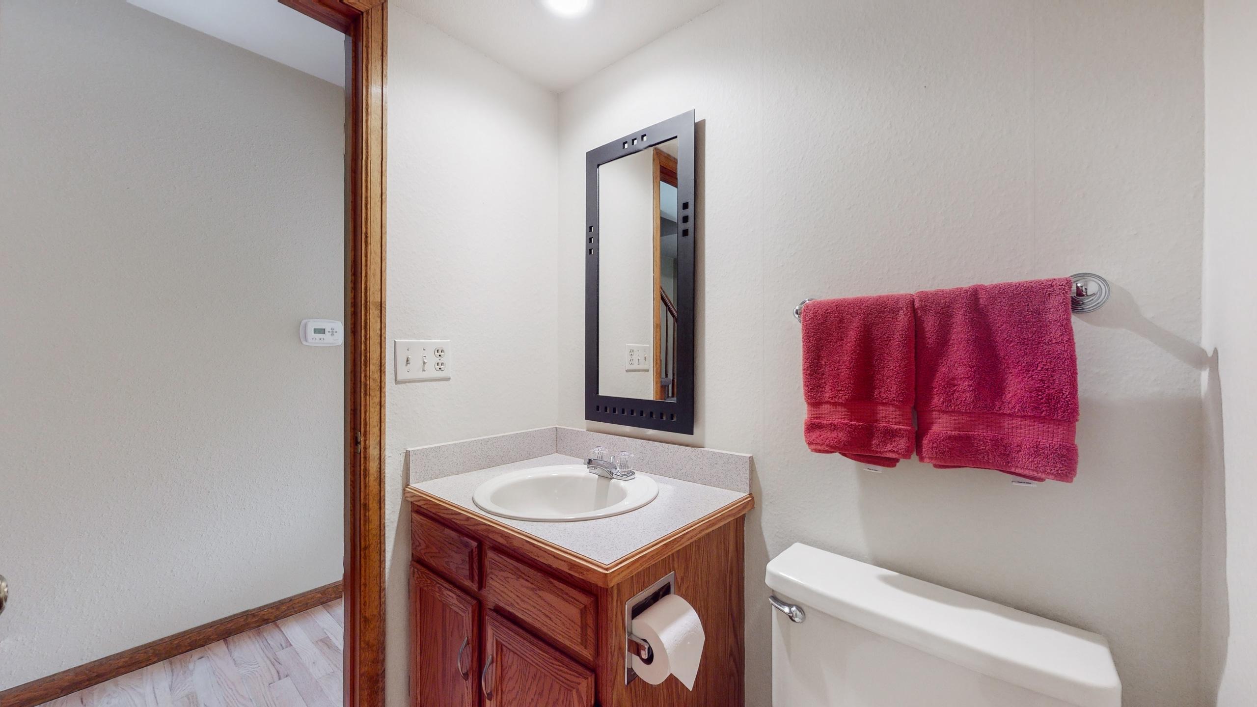 Half bathroom on main level for convenience