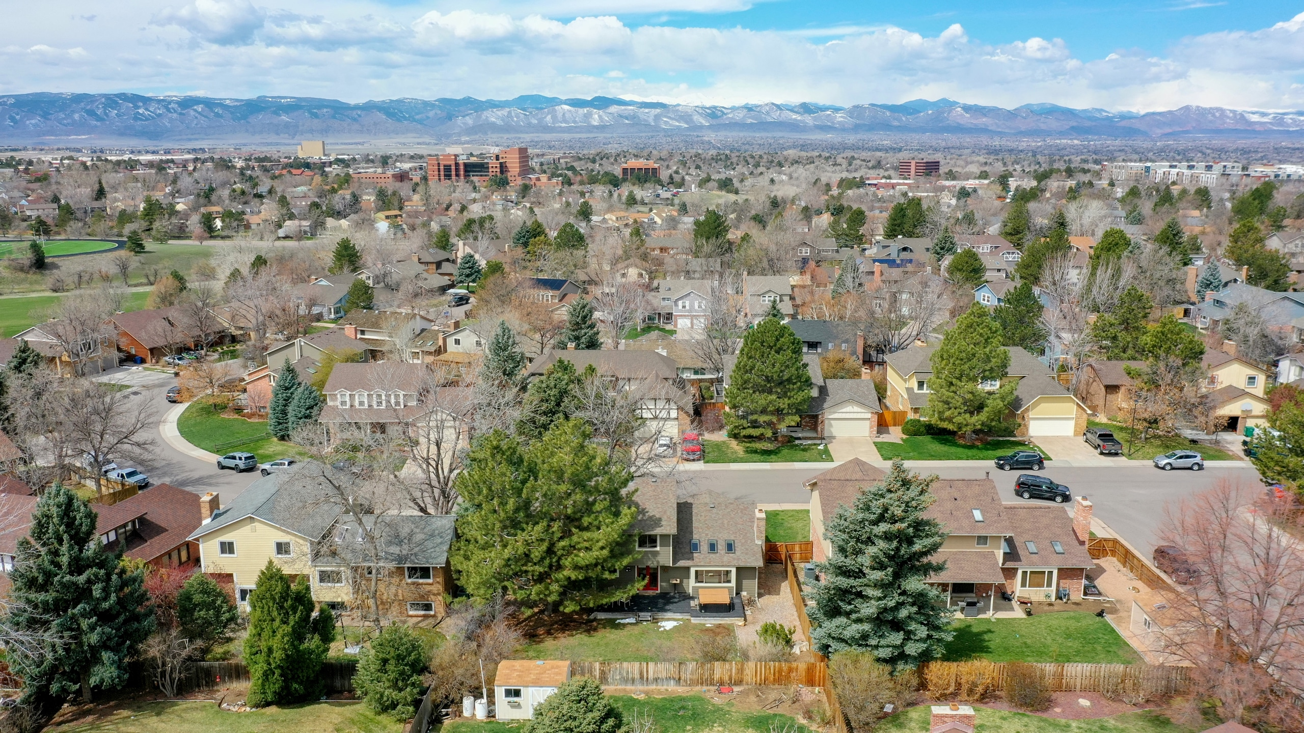 Mountain views of the front range in Centennial