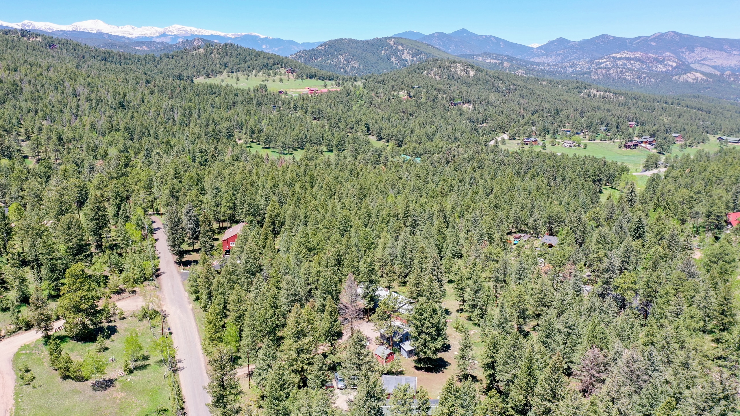 Drone view of Evergreen forest in Colorado