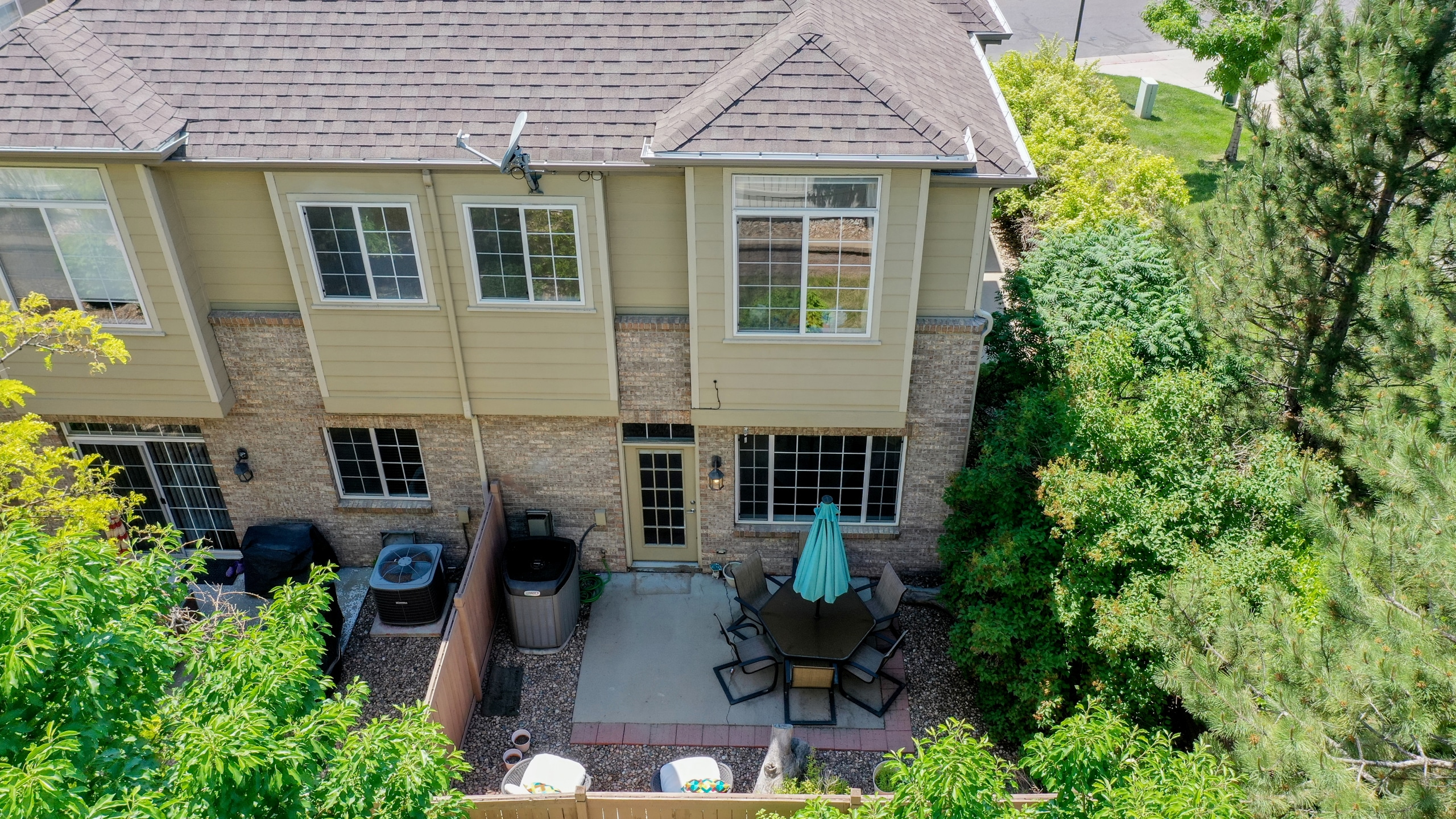 Drone view of back patio