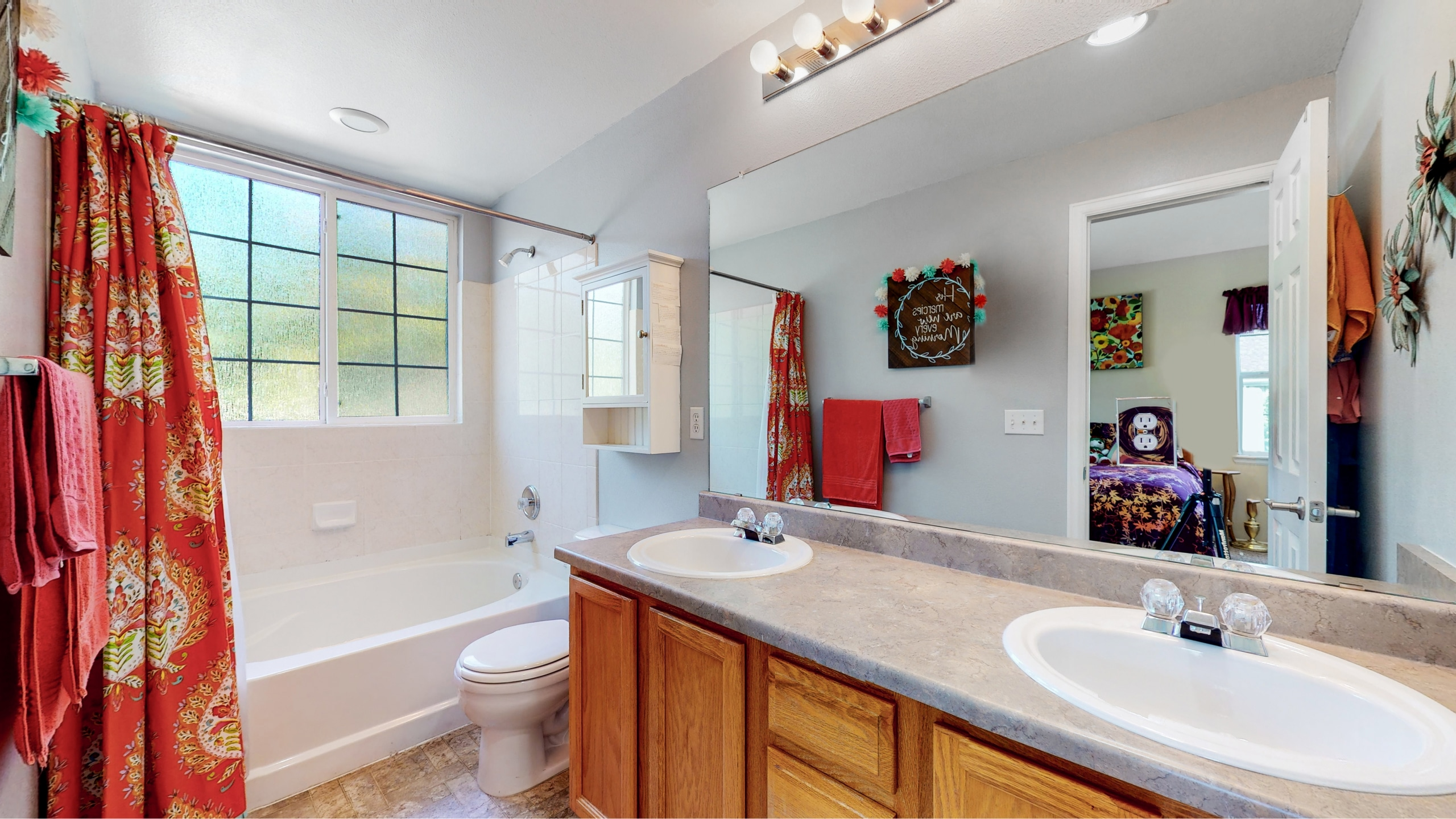 Master Bathroom with oversized tub and double sink vanity