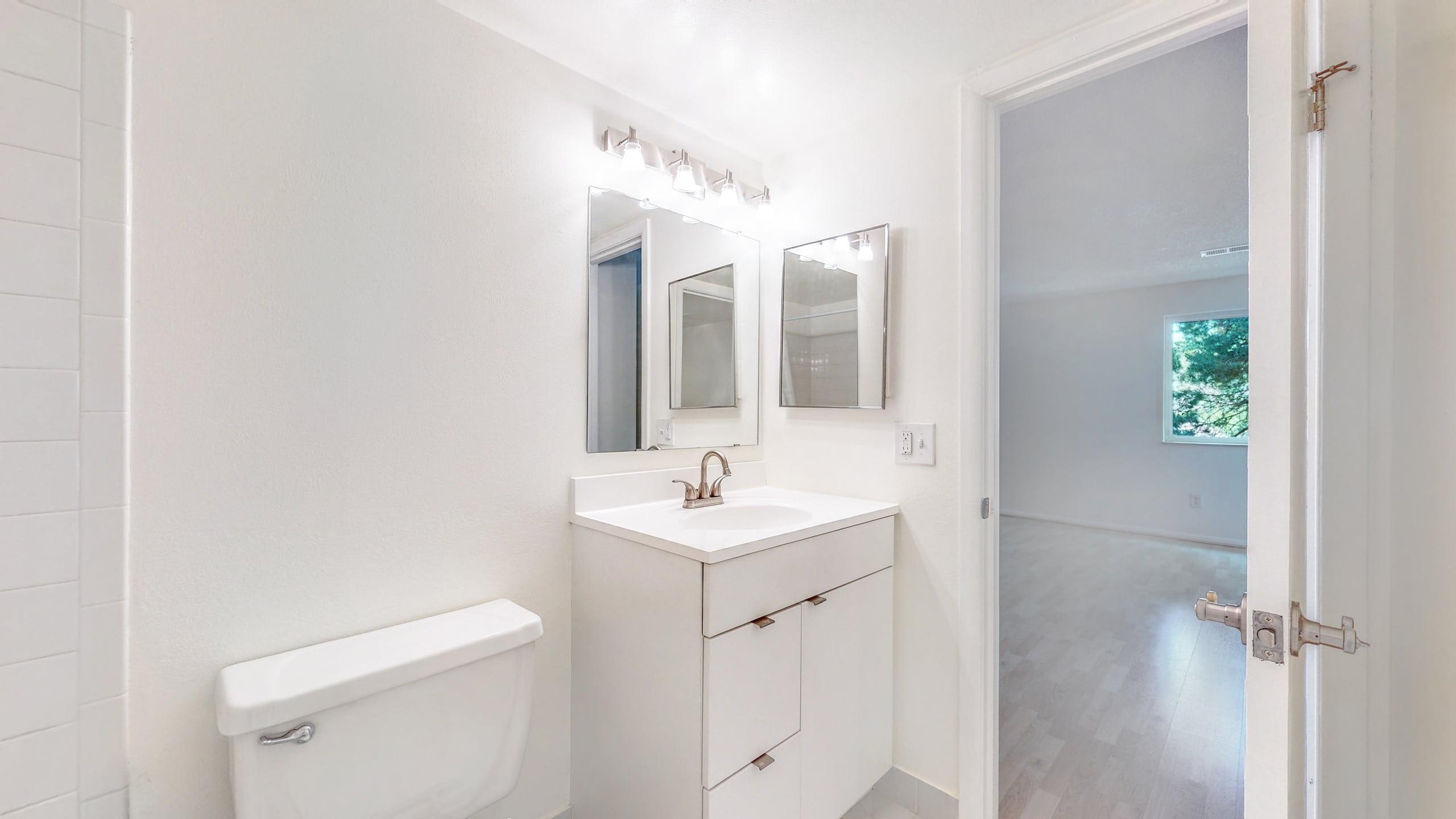 Clean Bathroom White Tile, white vanity
