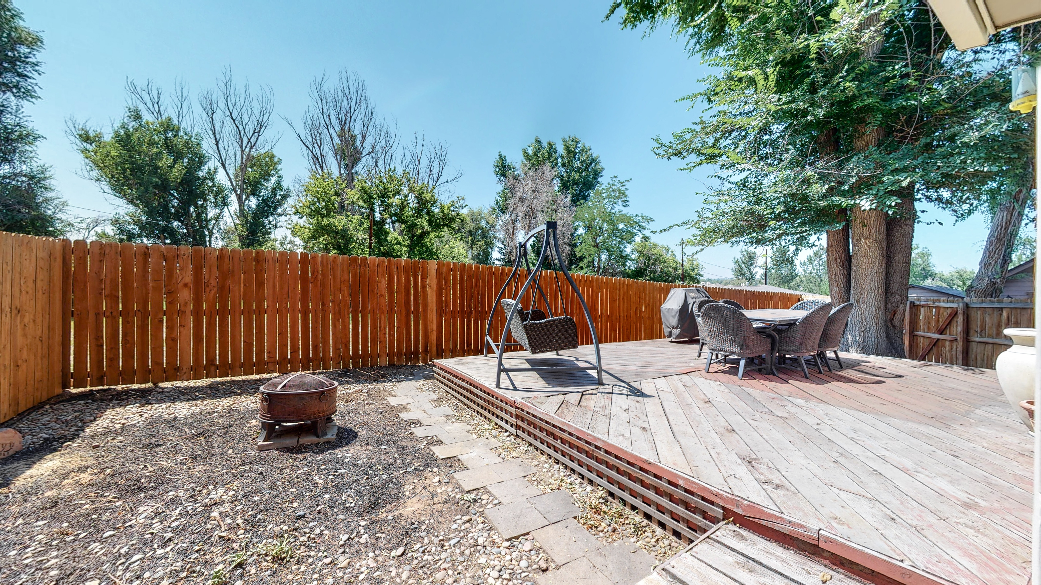 Large deck in back yard