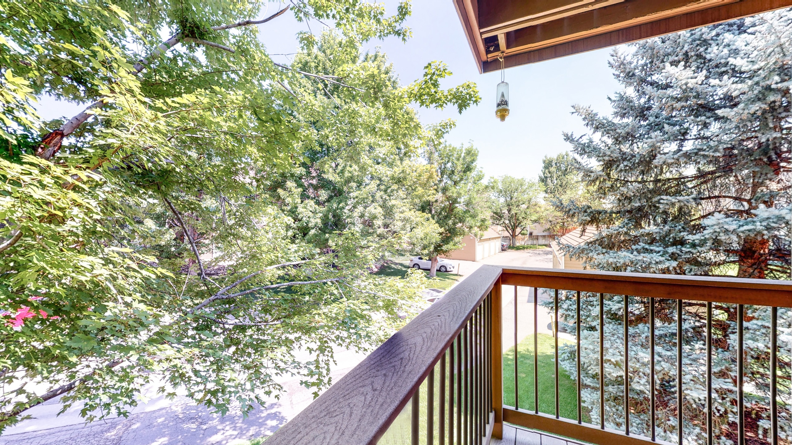 Private Balcony is very private with large trees