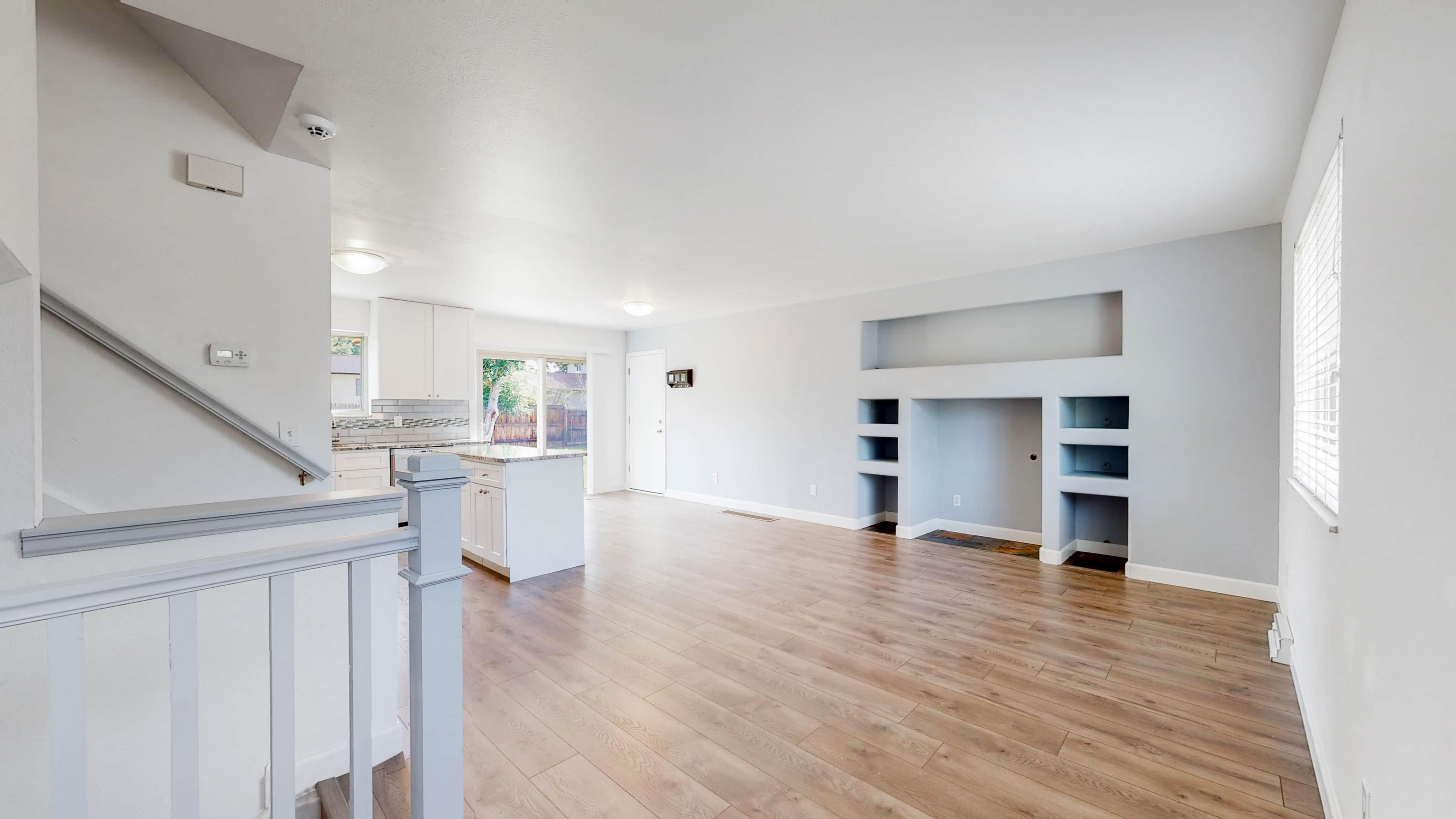 New pergo flooring open concept kitchen