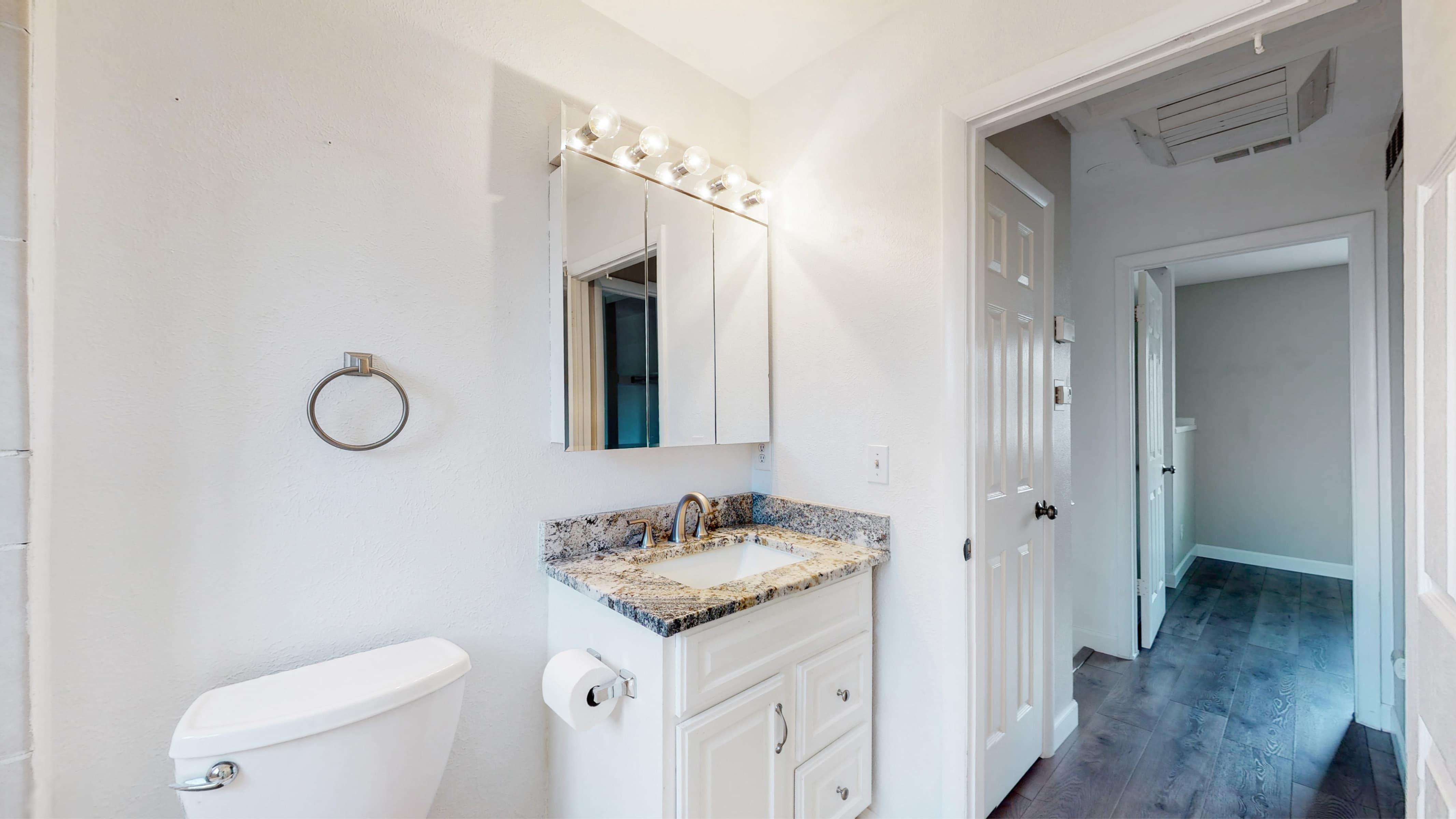Upstairs bathroom, white, with white vanity, granite top vanity